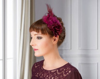 Fascinator dark red satin