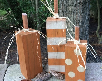 Wooden Pumpkin Set,Wooden Pumpkins, Decorative Pumpkins,Chunky Pumpkins,Rustic Thanksgiving Pumpkins,Fall Pumpkins,Square Pumpkins