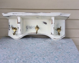 Distressed Antique White Hall Tree/Shelf