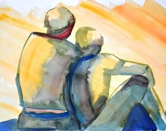 """Original watercolor painting, Figurative art, about two friends Size 13,8"""" x 19,7"""", painted on paper """"Guarro"""" 300 gr/m2. Made in Chile"""