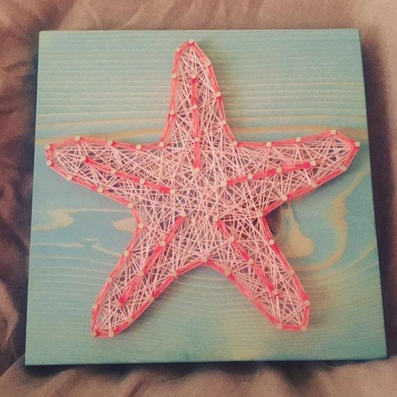 Custom starfish string art fish nautical wall decor ocean for Fish string art