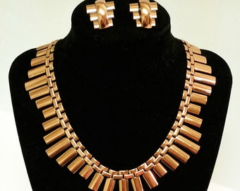 Mid-century Modernist Renoir Copper Necklace and Earrings Set Demi Parure