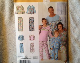 Family Pajama Pattern 2481 Simplicity.  Size XS - XL