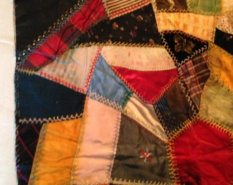 24 inch CRAZY QUILT Block.  Antique, detailed hand stitching