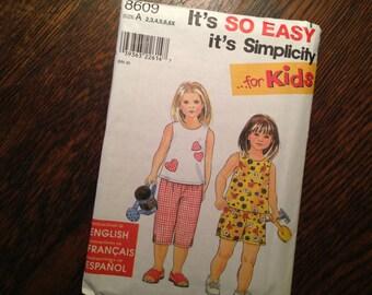 Kids 2,3,4,5,6,6X Summer Top Capri Shorts Simplicity 8609 EASY Sew Pattern