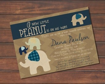 A New Little Peanut Baby Shower Invite