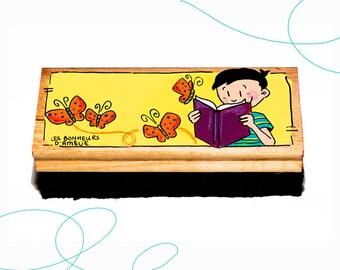 Brosse à tableau, garçon, livre, papillon, cadeau, enseignante, primaire