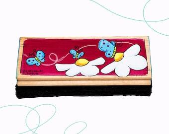 Brosse à tableau, fleurs, papillons, cadeau, enseignante, enfant, primaire