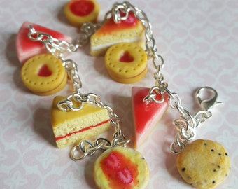 Polymer clay cake bracelet, strawberry scones and cakes on silver plated bracelet, miniature food charm bracelet, food jewellery bracelet