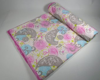 Minky Baby Blanket - Baby Blanket - Minky Blanket - Birds, Floral - Baby Girl - Pink