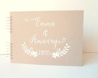 Gold Bohemia-country marriage book 100 pages - beige linen