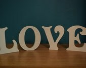 Free-standing LOVE Wooden Letters * Plaque* Wedding * Painted in Acrylic or Chalk Paint