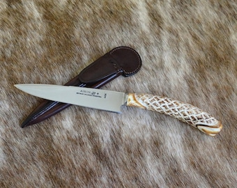 Argentinian gaucho knife - Sculpted deer antler stick - Leather case - Inox steel - Collection knife - Kamyno