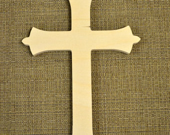 Wooden Cross Cutout Unpainted - Wood Cross Wall Decor - Unfinished Cross Crafting Supplies, Paint It Yourself Cross (Style 002)