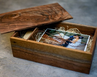 Walnut Wood Photography Box- for USB and 4x6/5x7 Prints