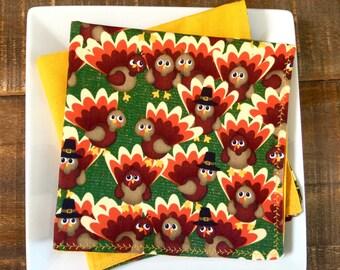 Kid's Thanksgiving Reversible Napkins, Turkeys, Gobble-Gobble, Fall Colors, Gold, Brown, Orange, Forest Green