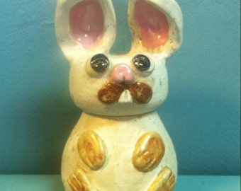 Rabbit multi- purpose Hand-Built Pottery container/dispenser