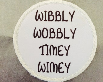 "Wibbly Wobbly Timey Wimey Dr. Who Tardis - 3"" Circle Sew On / Iron On Patch"