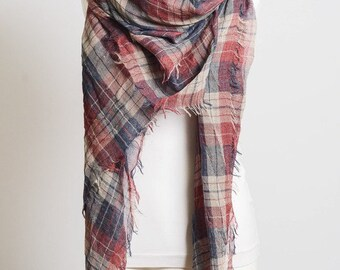 Frayed Edge Plaid Scarf, lightweight scarf