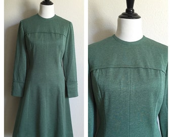 1960s Vintage Green Minimalist Mod Dress //60s Long Sleeve Dress with Decorative Buttons
