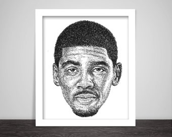 Scribbled Kyrie Irving - Poster