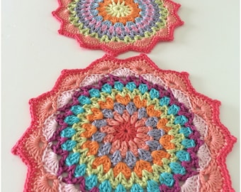 A pair of Crochet Mandala Table Mats, Crochet Mat, Home Decor Table Decoration  in 100% high quality mercerised cotton with a pretty shell e