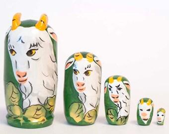 Nesting dolls mini Goats for kids matryoshka - #7AA