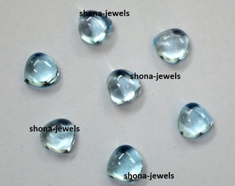 Lot Of 10 Pieces Sky Blue Topaz Heart shape Cabochon Calibrated loose gemstone for jewelry