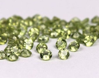 25 pic. Lot of Natural Green Peridot 2.5X2.5 mm round cut Faceted loose gemstone with free shipping