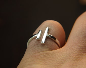 Parallel bar ring, silver simple statement ring - modern bar ring - handcrafted sterling silver ring minimalist