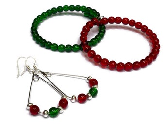 Christmas Jewelry for Women - Holiday Party Accessories - Holiday Jewelry Set for Mom - Christmas Beaded Bracelets and Earrings - Gift Set