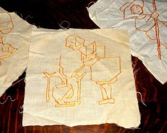 6 Vintage Hand Embroidered Quilt Squares • orange on muslin