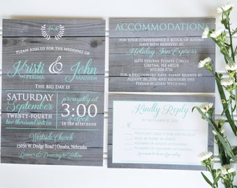 Rustic Wedding Invitation, Country Wedding Invitation,  Modern Wedding Invitation,  Wood Wedding Invites, Simple Wedding Invitation