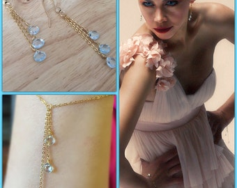 Blue topaz earrings, 14k gold filled hooks, beach weeding, gold filled chain, dangle & drop earrings, heart shape earrings, bridesmaids gift