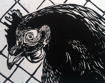 "Chicken linocut ""Chook"""