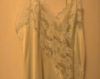 Vintage Nylon Nightie With Lace In Light Blue