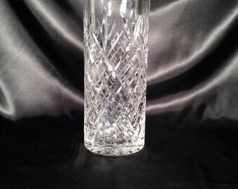 """Cut Crystal 9 3/4"""" cyliner chape vase,crystal vase,crystal crosshatch vase,cross hatch,crystal glass vase,vintage crystal vase"""