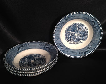 Currier & Ives Blue desert bowls (set 4) children on fence,Currier Ives children on fence desert fruit bowls
