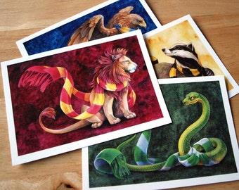 Hogwarts House Postcards! Hufflepuff, Gryffindor, Slytherin, Ravenclaw