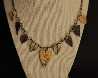Leather Leaf Necklace Whimsical Bohemian  Witch Jewelry