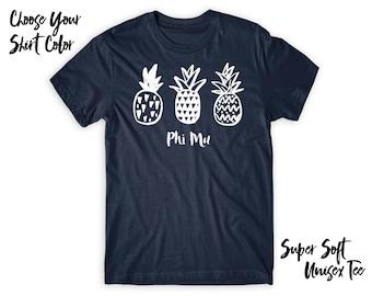 Phi Mu Pineapple Trio Choose Your TShirt Color!