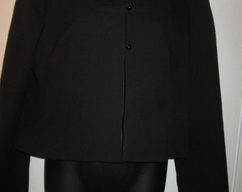 Chevaux black wool short black jacket. Absolutely darling with gorgeous stitch detail Fully lined Size 8
