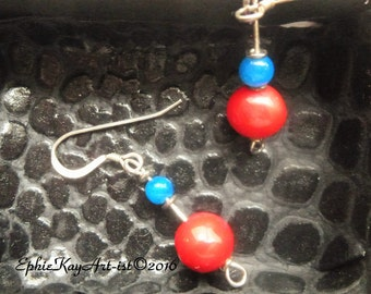 Chevelle Line: Red Coral with Blue Touch, in earrings