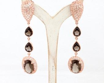 Smoky Quartz Rose Gold Teardrop Earrings