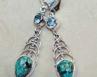 Turquoise with Blue Topaz & 925 Sterling Silver Earrings