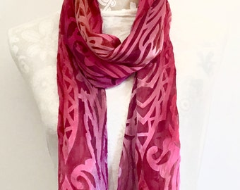 Art Nouveau Hot Pink Silk Scarf