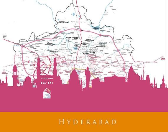 Skyline Print Hyderabad Skyline Hyderabad Map Art Hyderabad