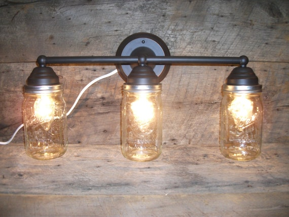 Ball Jar Vanity Lights : Mason Jar Light 3-Light Rubbed Bronze Rustic Mason Jar Vanity