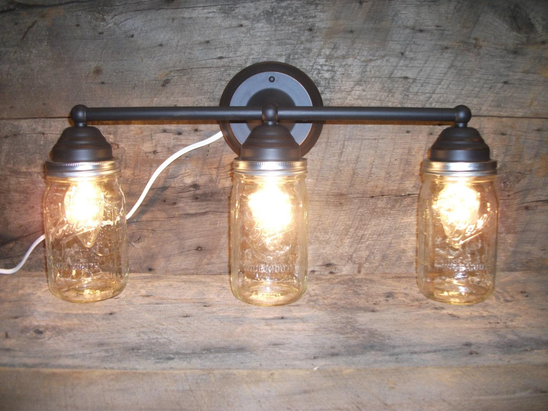 Mason Jar Light 3-Light Rubbed Bronze Rustic Mason Jar Vanity