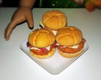 Chicken Bacon Sandwich for Doll's, AG Doll Food, Sandwich for Doll's such as American Girl 18 inch Doll's, Doll Food